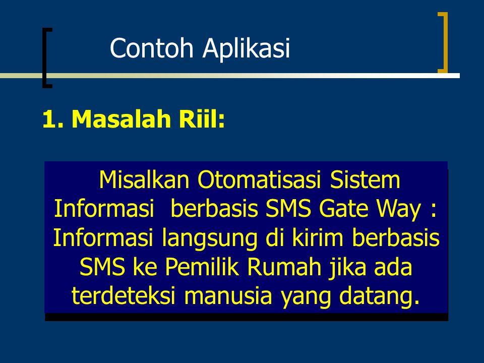 Contoh Aplikasi 1. Masalah Riil: Misalkan Otomatisasi Sistem Informasi berbasis SMS Gate Way : Informasi langsung di kirim berbasis SMS ke Pemilik Rum