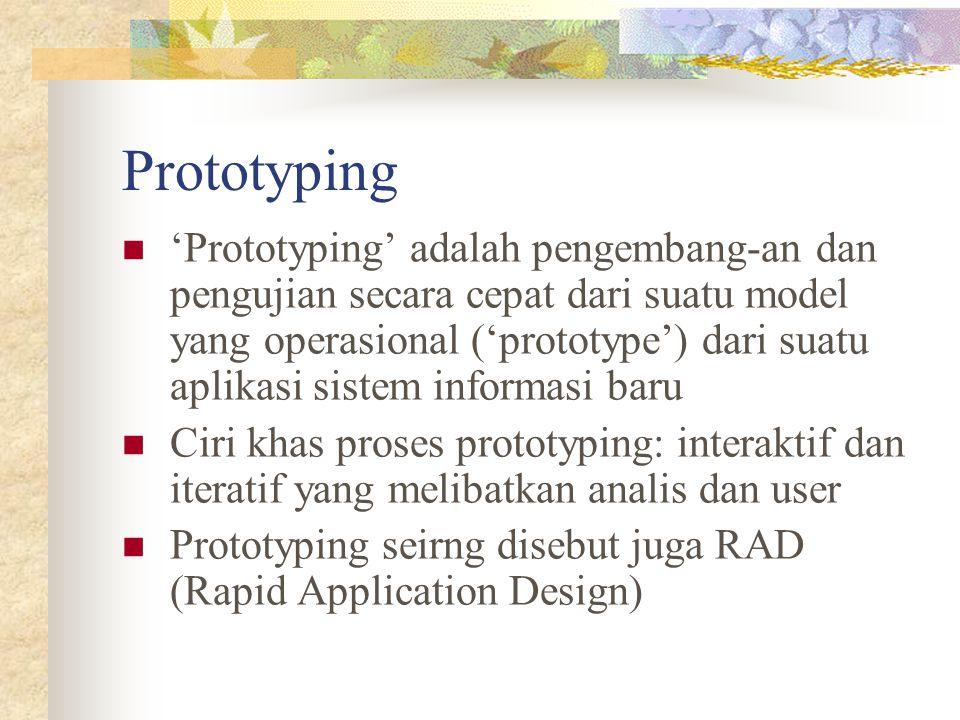 Prototyping 'Prototyping' adalah pengembang-an dan pengujian secara cepat dari suatu model yang operasional ('prototype') dari suatu aplikasi sistem i