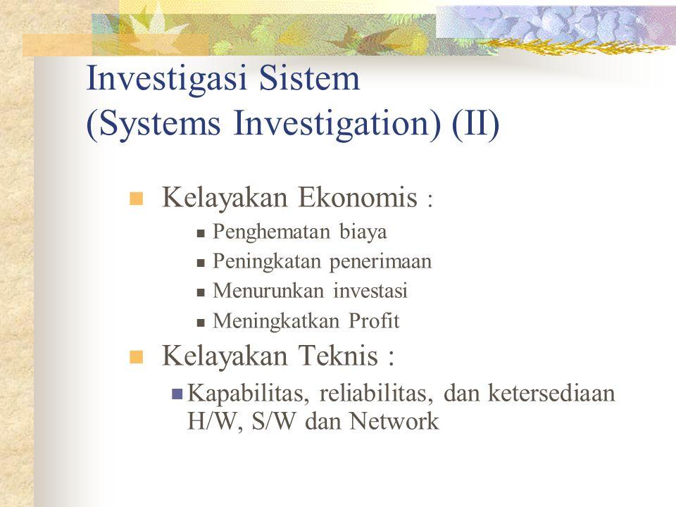 Investigasi Sistem (Systems Investigation) (II) Kelayakan Ekonomis : Penghematan biaya Peningkatan penerimaan Menurunkan investasi Meningkatkan Profit