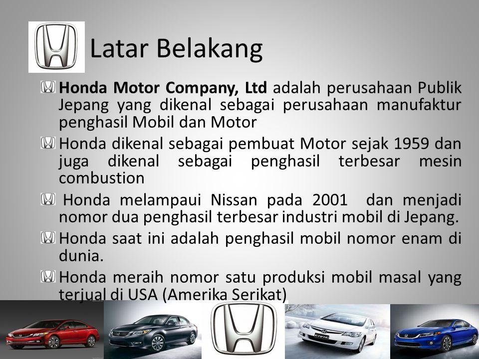 Latar Belakang Honda Motor Company, Ltd adalah perusahaan Publik Jepang yang dikenal sebagai perusahaan manufaktur penghasil Mobil dan Motor Honda dik