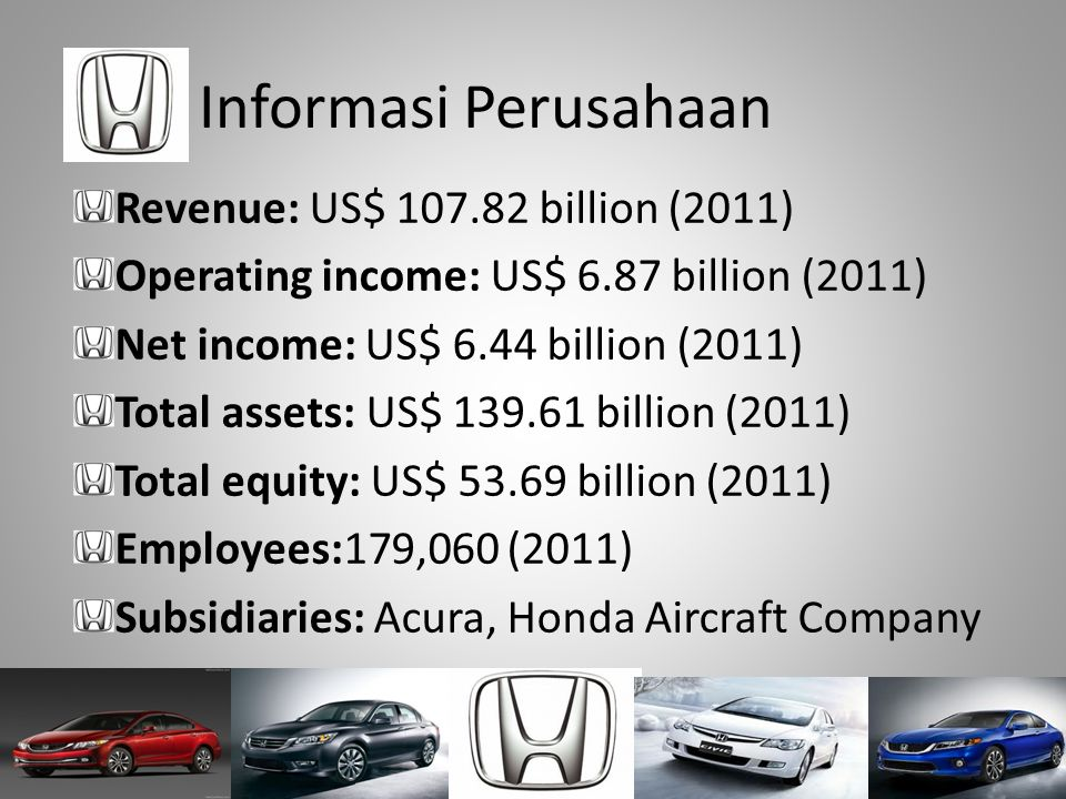 Informasi Perusahaan Revenue: US$ 107.82 billion (2011) Operating income: US$ 6.87 billion (2011) Net income: US$ 6.44 billion (2011) Total assets: US
