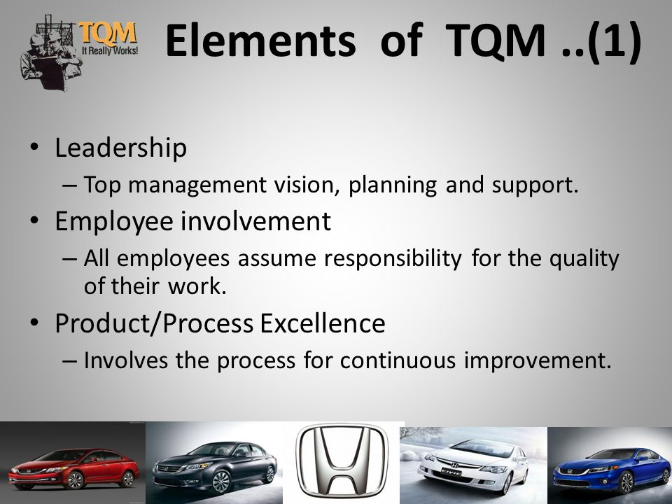 Elements of TQM..(1) Leadership –T–Top management vision, planning and support.