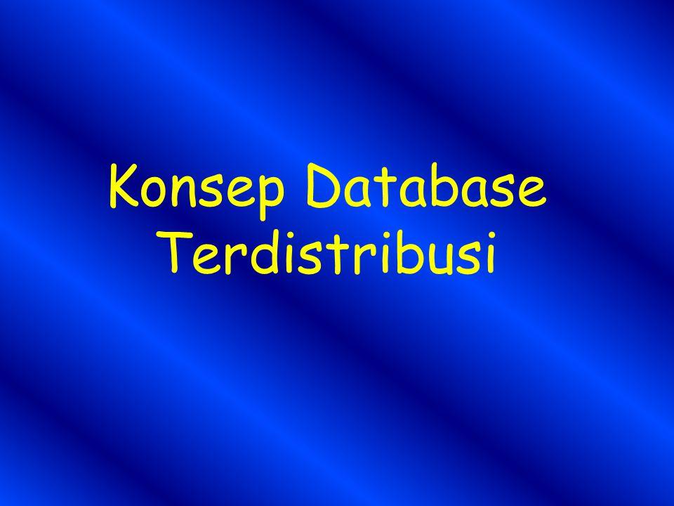 DATA BASE TERDISTRIBUSI Basis data terdistribusi adalah kumpulan database yang disimpan di banyak komputer pada lokasi yang berbeda-beda dan menampilkan ke user sebagai single database Komputer-komputer tersebut terhubung dengan jaringan dan user dapat mengkases, mengupdate dan memodifikasi data pada database melalui jaringan