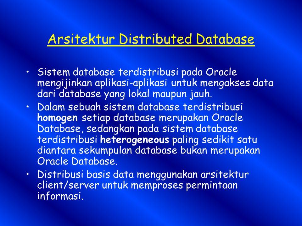 Arsitektur Distributed Database Sistem database terdistribusi pada Oracle mengijinkan aplikasi-aplikasi untuk mengakses data dari database yang lokal maupun jauh.
