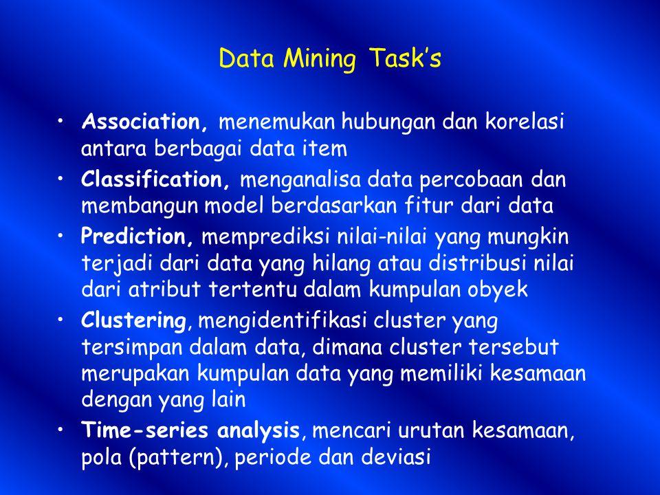 Data Mining Task's Association, menemukan hubungan dan korelasi antara berbagai data item Classification, menganalisa data percobaan dan membangun model berdasarkan fitur dari data Prediction, memprediksi nilai-nilai yang mungkin terjadi dari data yang hilang atau distribusi nilai dari atribut tertentu dalam kumpulan obyek Clustering, mengidentifikasi cluster yang tersimpan dalam data, dimana cluster tersebut merupakan kumpulan data yang memiliki kesamaan dengan yang lain Time-series analysis, mencari urutan kesamaan, pola (pattern), periode dan deviasi