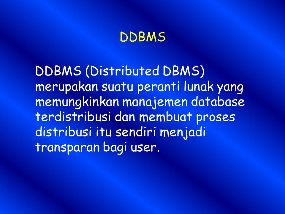 DDBMS DDBMS (Distributed DBMS) merupakan suatu peranti lunak yang memungkinkan manajemen database terdistribusi dan membuat proses distribusi itu sendiri menjadi transparan bagi user.