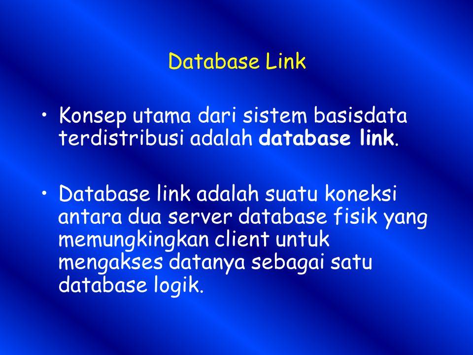 Database Link Konsep utama dari sistem basisdata terdistribusi adalah database link.