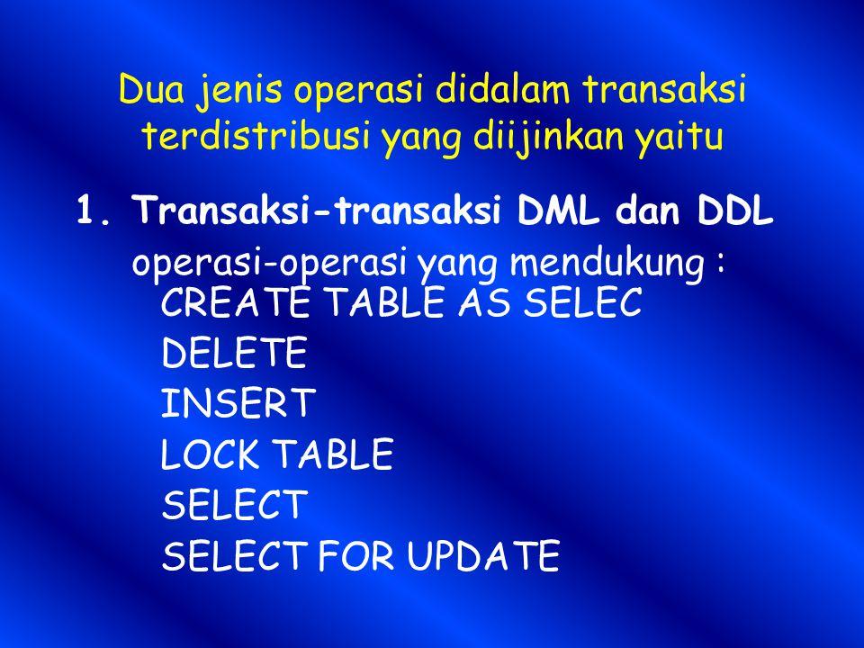 Dua jenis operasi didalam transaksi terdistribusi yang diijinkan yaitu 1.Transaksi-transaksi DML dan DDL operasi-operasi yang mendukung : CREATE TABLE AS SELEC DELETE INSERT LOCK TABLE SELECT SELECT FOR UPDATE