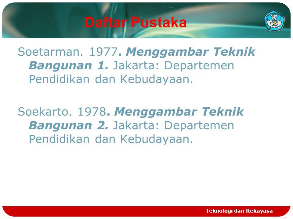 Daftar Pustaka Soetarman. 1977. Menggambar Teknik Bangunan 1. Jakarta: Departemen Pendidikan dan Kebudayaan. Soekarto. 1978. Menggambar Teknik Banguna