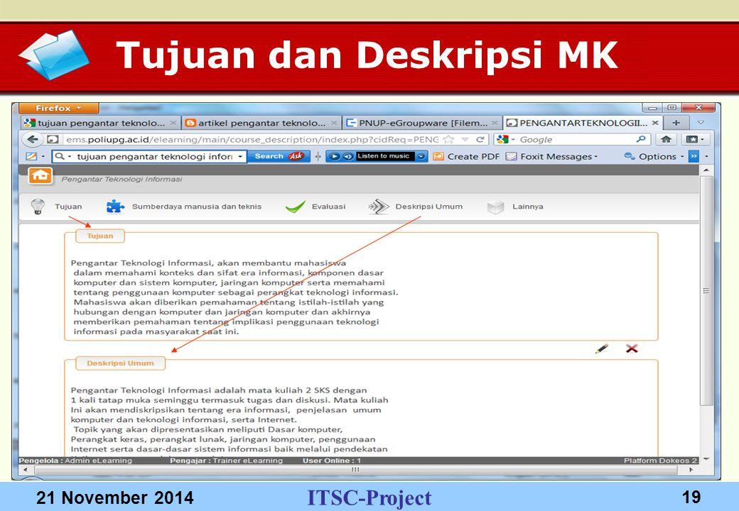 ITSC-Project 21 November 2014 19 Tujuan dan Deskripsi MK