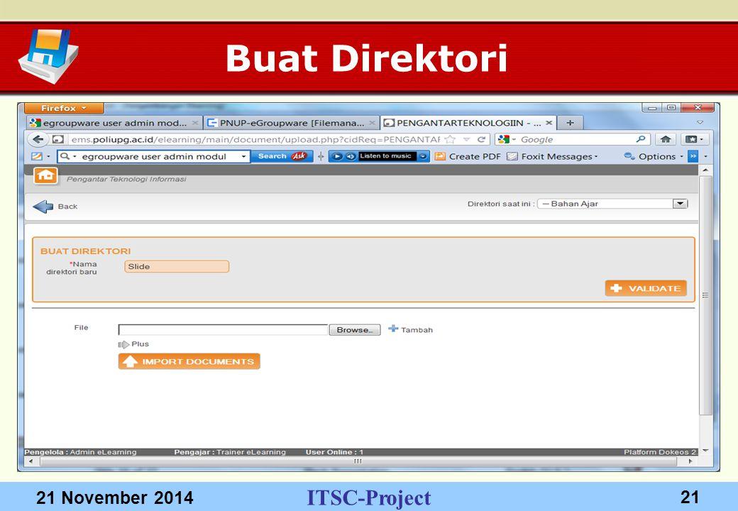 ITSC-Project 21 November 2014 21 Buat Direktori