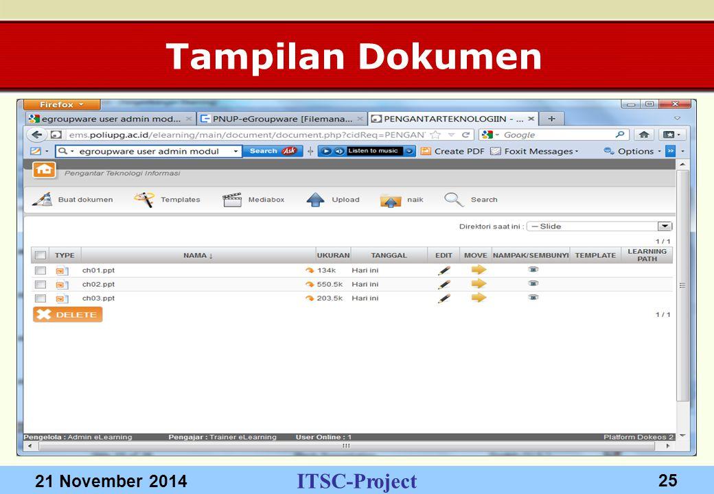 ITSC-Project 21 November 2014 25 Tampilan Dokumen
