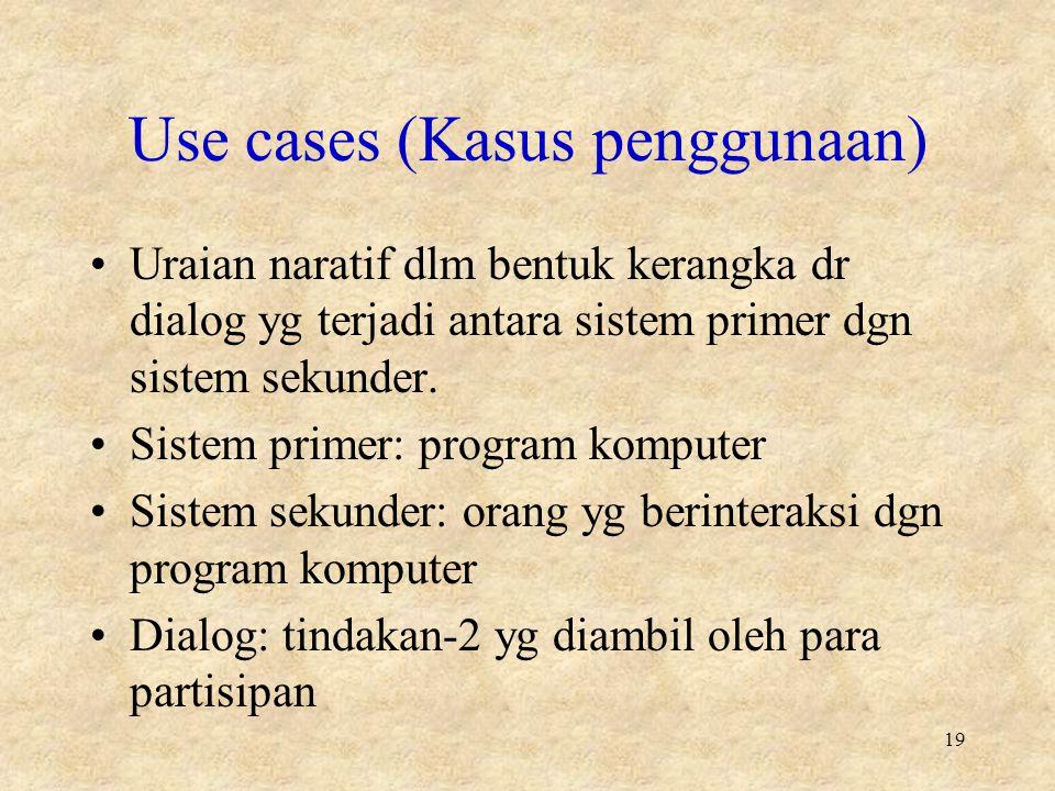 Use cases (Kasus penggunaan) Uraian naratif dlm bentuk kerangka dr dialog yg terjadi antara sistem primer dgn sistem sekunder.