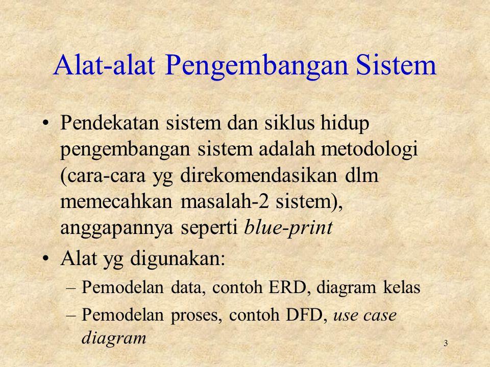 Alat-alat Pengembangan Sistem Pendekatan sistem dan siklus hidup pengembangan sistem adalah metodologi (cara-cara yg direkomendasikan dlm memecahkan masalah-2 sistem), anggapannya seperti blue-print Alat yg digunakan: –Pemodelan data, contoh ERD, diagram kelas –Pemodelan proses, contoh DFD, use case diagram 3
