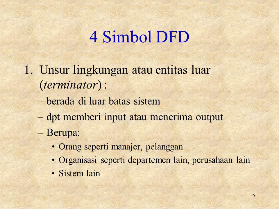 4 Simbol DFD 1.Unsur lingkungan atau entitas luar (terminator) : –berada di luar batas sistem –dpt memberi input atau menerima output –Berupa: Orang seperti manajer, pelanggan Organisasi seperti departemen lain, perusahaan lain Sistem lain 5