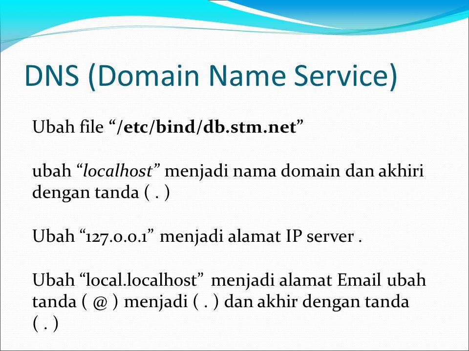 DNS (Domain Name Service) Ubah file /etc/bind/db.stm.net ubah localhost menjadi nama domain dan akhiri dengan tanda (.