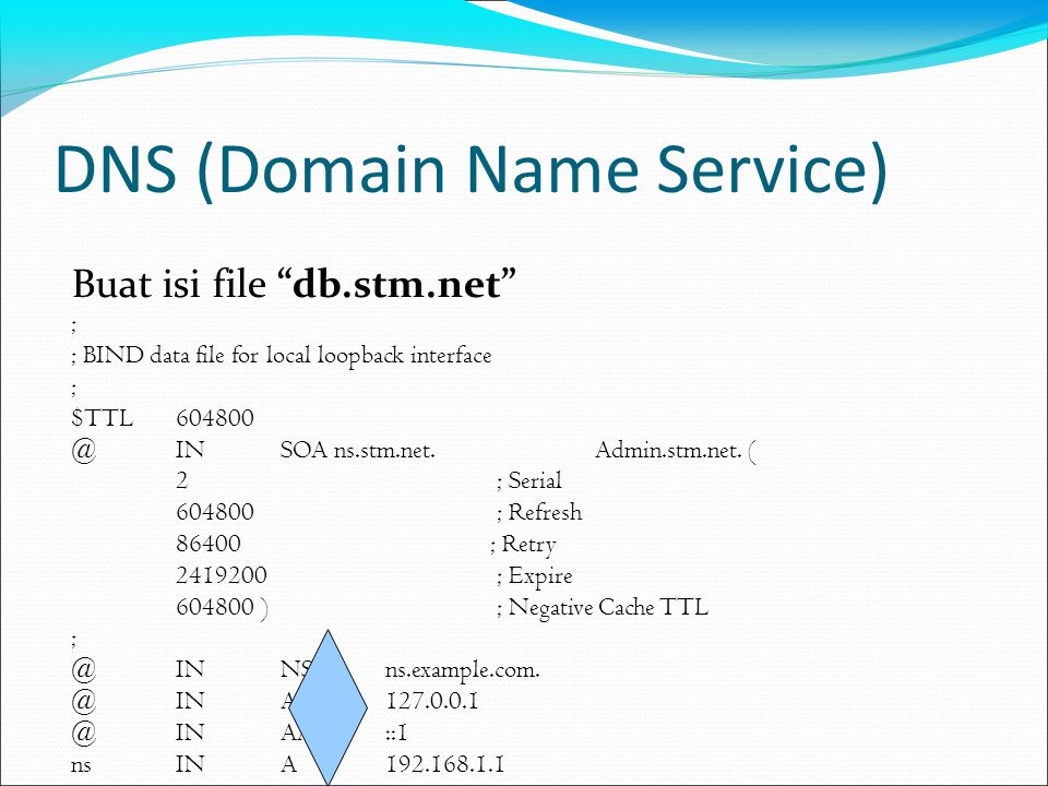 DNS (Domain Name Service) Buat isi file db.stm.net ; ; BIND data file for local loopback interface ; $TTL 604800 @ IN SOA ns.stm.net.