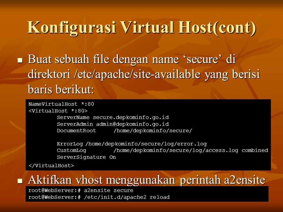 Konfigurasi Virtual Host(cont) Buat sebuah file dengan name 'secure' di direktori /etc/apache/site-available yang berisi baris berikut: Buat sebuah fi