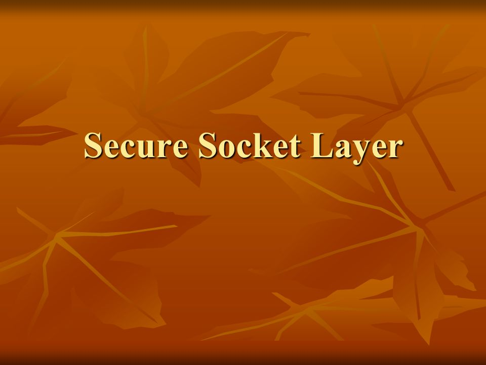 Secure Socket Layer