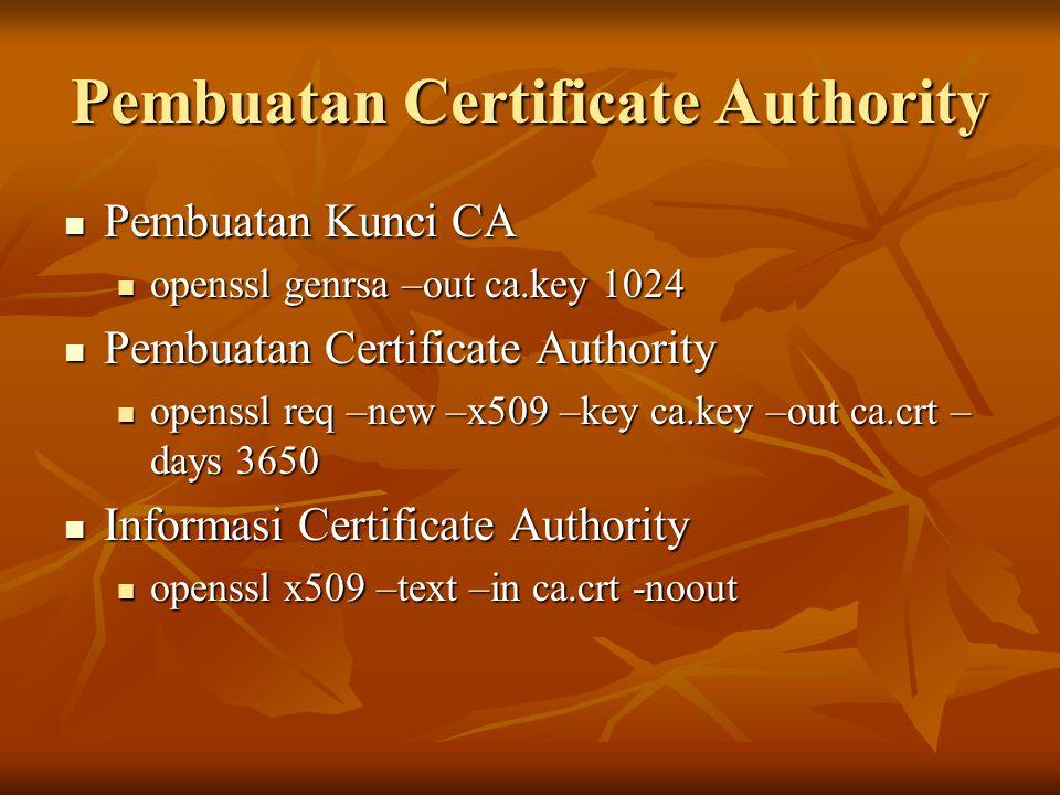 Pembuatan Certificate Authority Pembuatan Kunci CA Pembuatan Kunci CA openssl genrsa –out ca.key 1024 openssl genrsa –out ca.key 1024 Pembuatan Certif