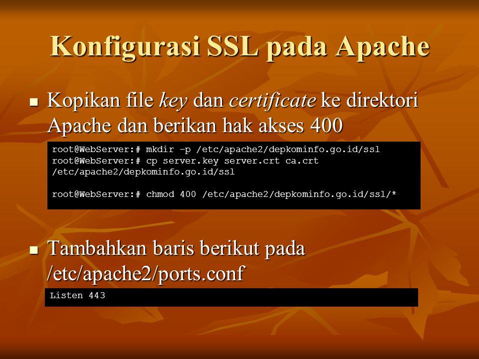 Konfigurasi SSL pada Apache Kopikan file key dan certificate ke direktori Apache dan berikan hak akses 400 Kopikan file key dan certificate ke direkto