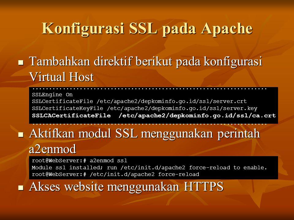 Konfigurasi SSL pada Apache Tambahkan direktif berikut pada konfigurasi Virtual Host Tambahkan direktif berikut pada konfigurasi Virtual Host Aktifkan