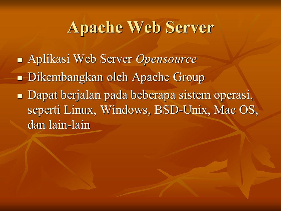 Fitur utama Apache Mendukung protokol HTTP/1.1 Mendukung protokol HTTP/1.1 Mendukung Virtual Host Mendukung Virtual Host Mendukung autentikasi HTTP Mendukung autentikasi HTTP Mendukung SSL untuk komunikasi terenkripsi Mendukung SSL untuk komunikasi terenkripsi Mendukung CGI Mendukung CGI Terintegrasi dengan bahasa pemrograman PHP, Perl dan bahasa pemrograman script lain Terintegrasi dengan bahasa pemrograman PHP, Perl dan bahasa pemrograman script lain Dan lain-lain Dan lain-lain