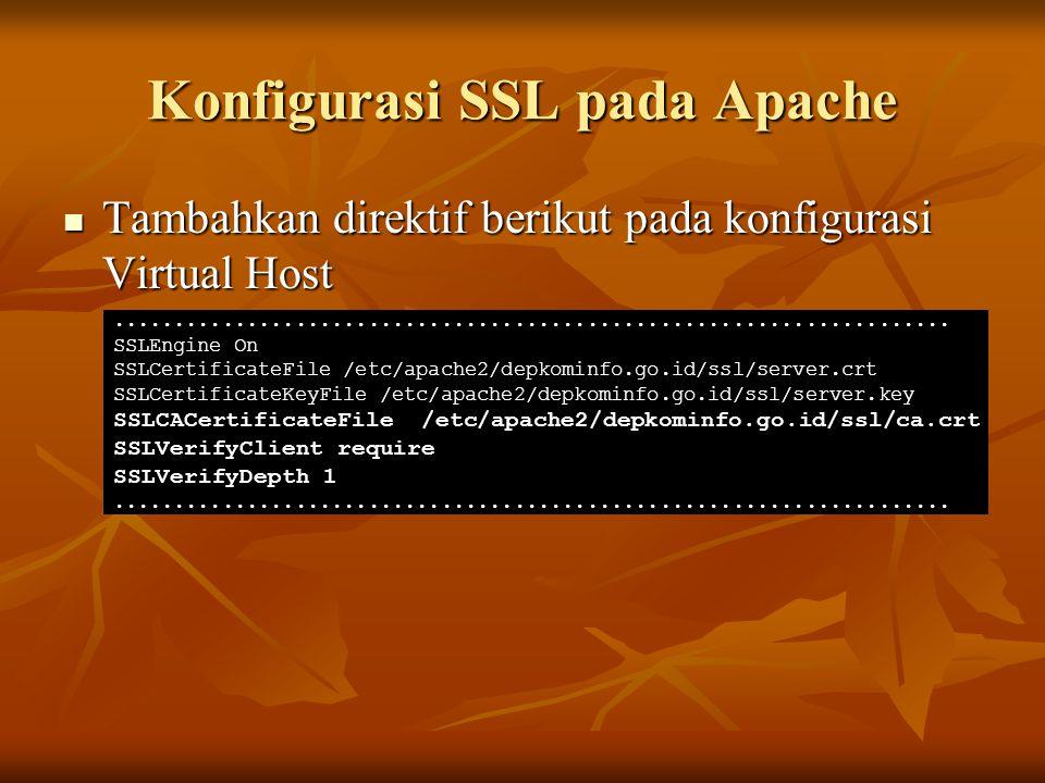 Konfigurasi SSL pada Apache Tambahkan direktif berikut pada konfigurasi Virtual Host Tambahkan direktif berikut pada konfigurasi Virtual Host.........