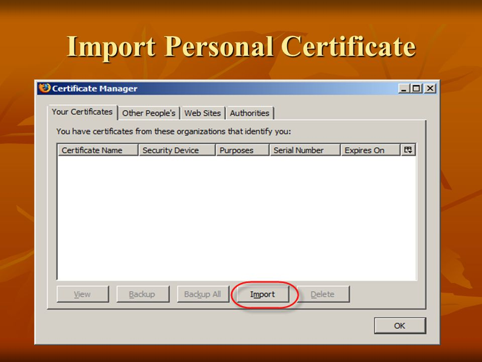 Import Personal Certificate