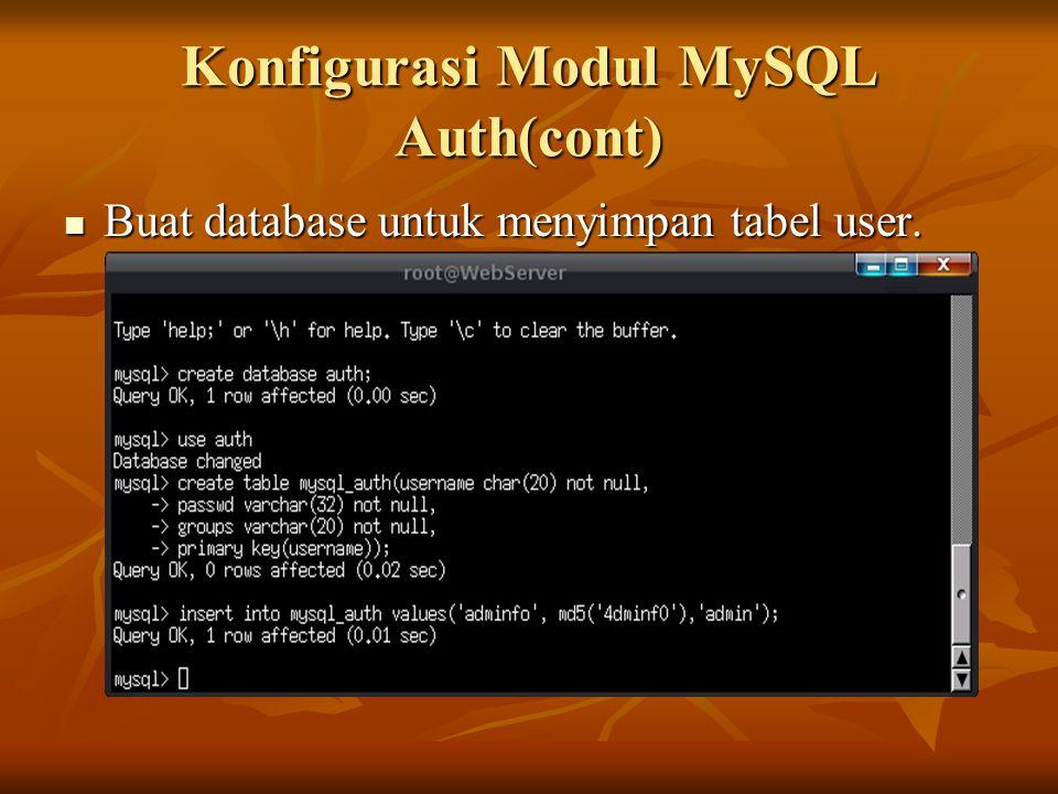 Konfigurasi Modul MySQL Auth(cont) Buat database untuk menyimpan tabel user. Buat database untuk menyimpan tabel user.