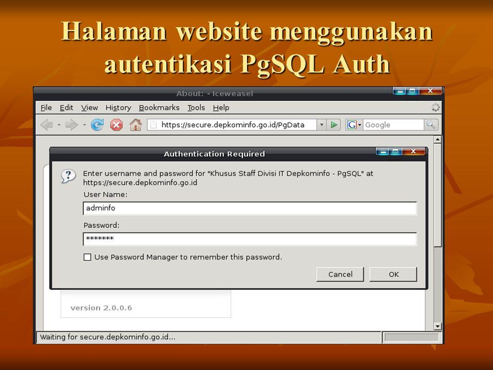 Halaman website menggunakan autentikasi PgSQL Auth