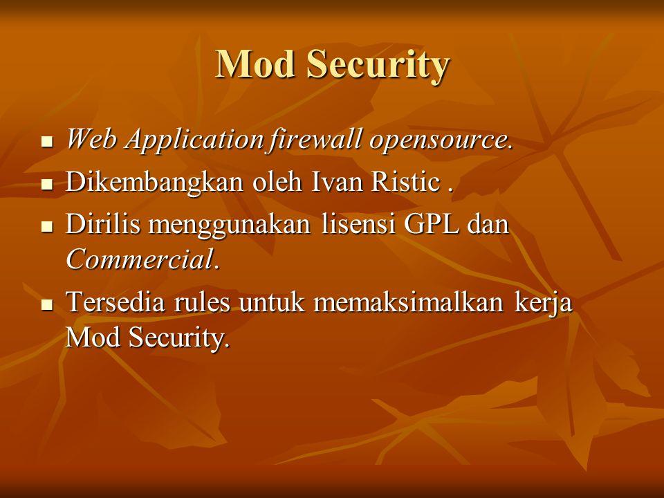Web Application firewall opensource. Web Application firewall opensource. Dikembangkan oleh Ivan Ristic. Dikembangkan oleh Ivan Ristic. Dirilis menggu