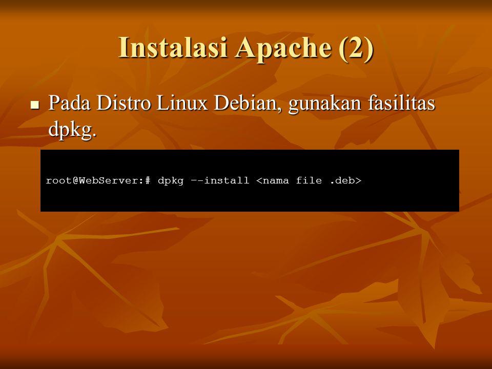 Konfigurasi SSL pada Apache Kopikan file key dan certificate ke direktori Apache dan berikan hak akses 400 Kopikan file key dan certificate ke direktori Apache dan berikan hak akses 400 Tambahkan baris berikut pada /etc/apache2/ports.conf Tambahkan baris berikut pada /etc/apache2/ports.conf root@WebServer:# mkdir –p /etc/apache2/depkominfo.go.id/ssl root@WebServer:# cp server.key server.crt ca.crt /etc/apache2/depkominfo.go.id/ssl root@WebServer:# chmod 400 /etc/apache2/depkominfo.go.id/ssl/* Listen 443