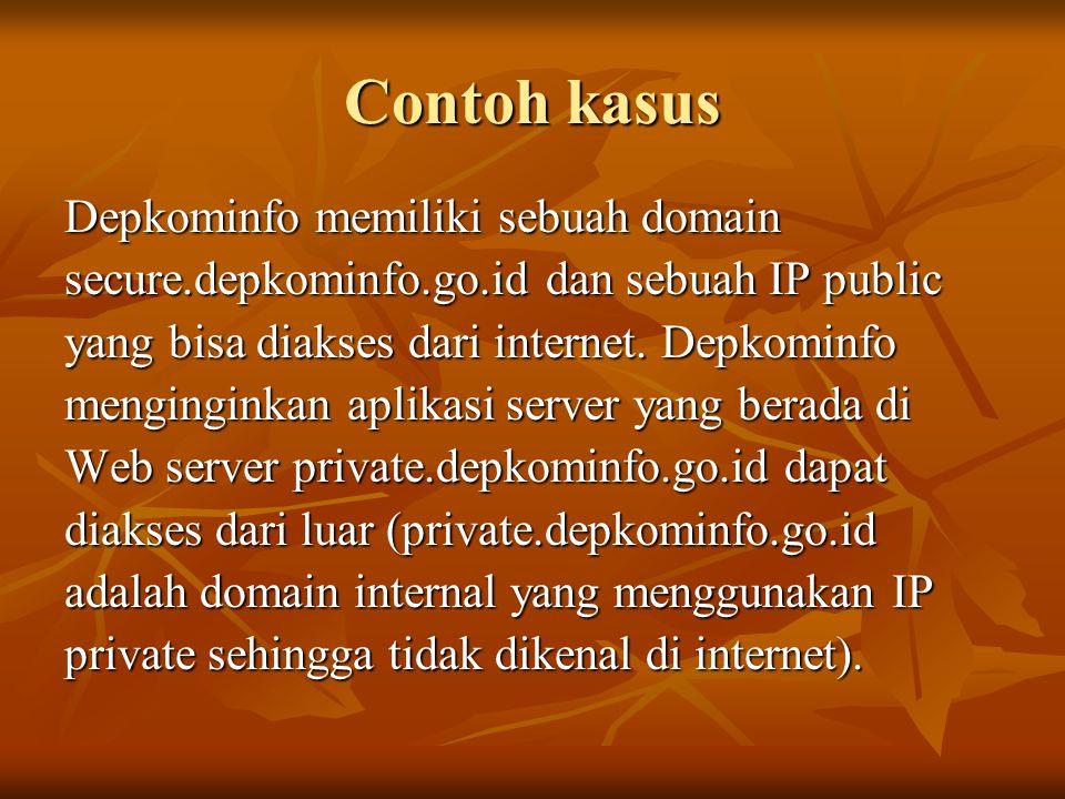 Contoh kasus Depkominfo memiliki sebuah domain secure.depkominfo.go.id dan sebuah IP public yang bisa diakses dari internet. Depkominfo menginginkan a