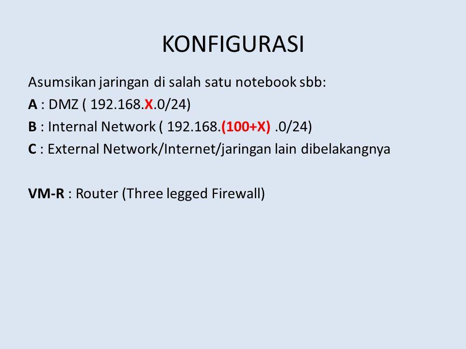 KONFIGURASI Asumsikan jaringan di salah satu notebook sbb: A : DMZ ( 192.168.X.0/24) B : Internal Network ( 192.168.(100+X).0/24) C : External Network