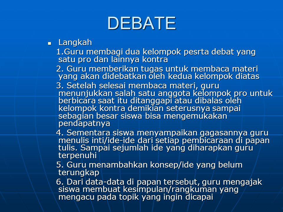 DEBATE Langkah Langkah 1.Guru membagi dua kelompok pesrta debat yang satu pro dan lainnya kontra 1.Guru membagi dua kelompok pesrta debat yang satu pr