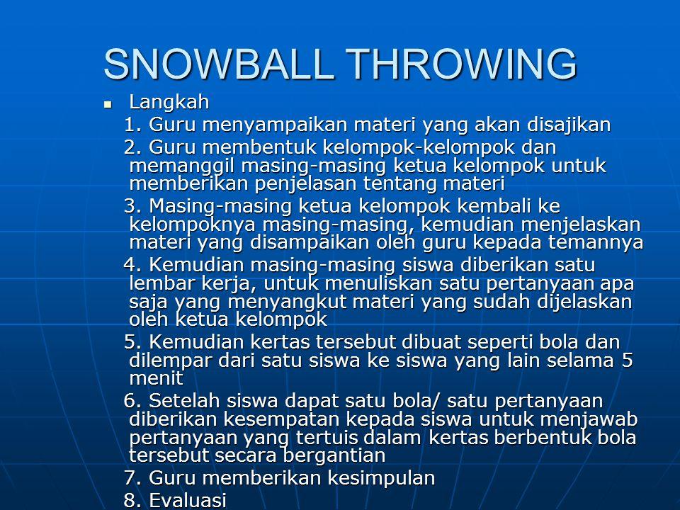 SNOWBALL THROWING Langkah Langkah 1. Guru menyampaikan materi yang akan disajikan 1. Guru menyampaikan materi yang akan disajikan 2. Guru membentuk ke