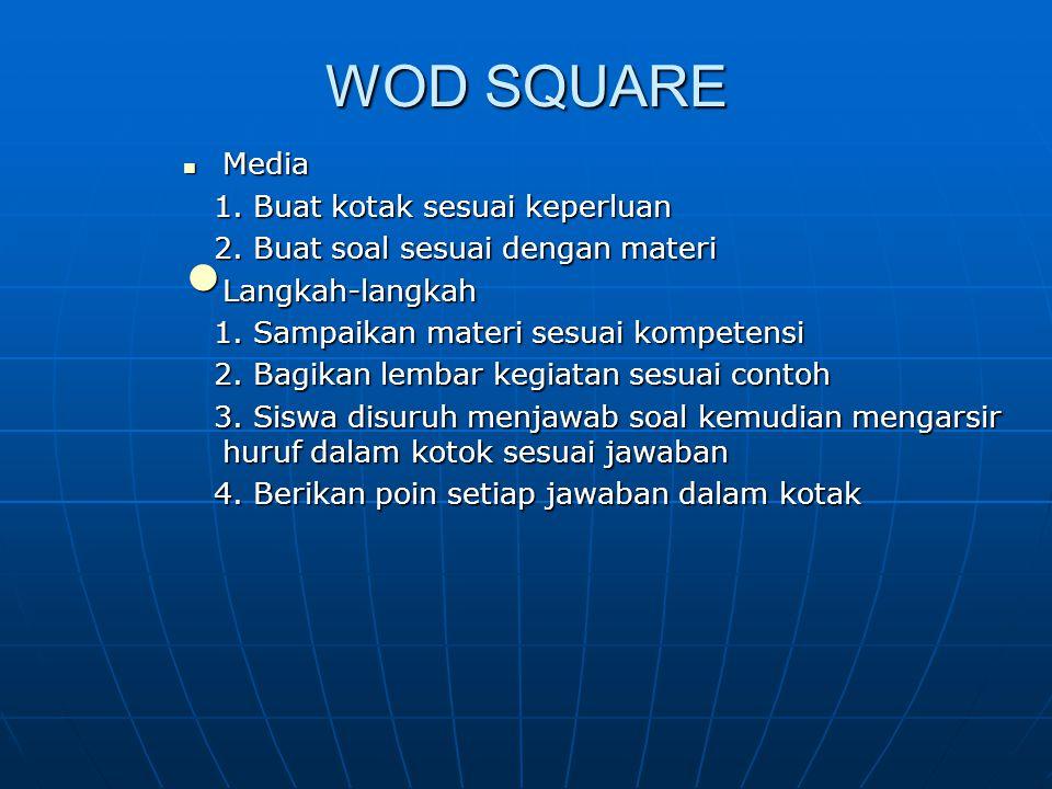 WOD SQUARE Media Media 1. Buat kotak sesuai keperluan 1. Buat kotak sesuai keperluan 2. Buat soal sesuai dengan materi 2. Buat soal sesuai dengan mate