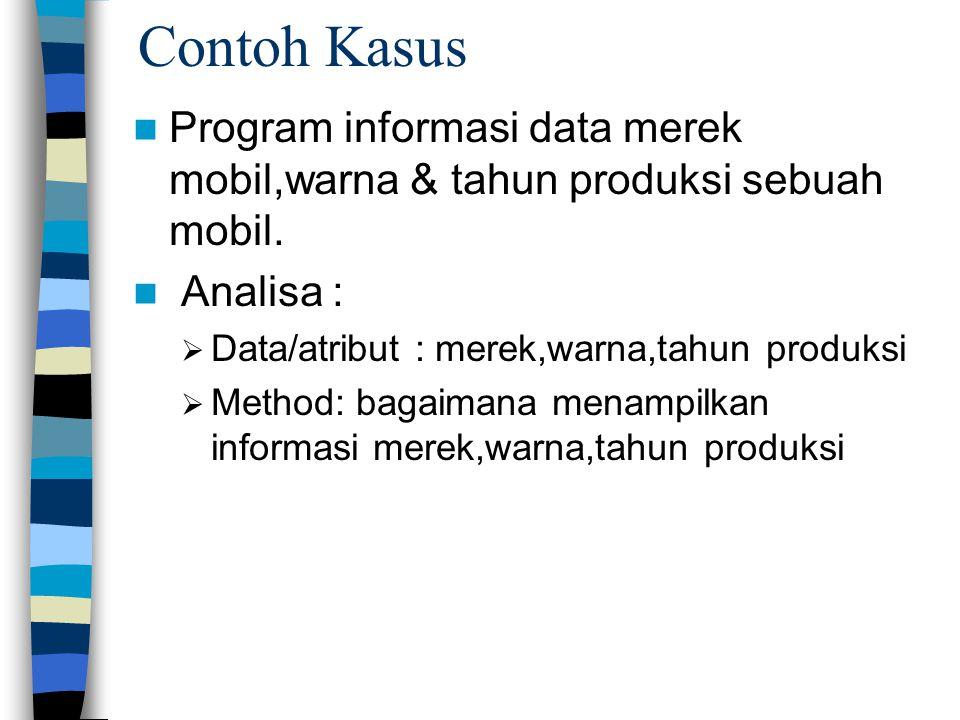 Contoh Kasus Program informasi data merek mobil,warna & tahun produksi sebuah mobil. Analisa :  Data/atribut : merek,warna,tahun produksi  Method: b
