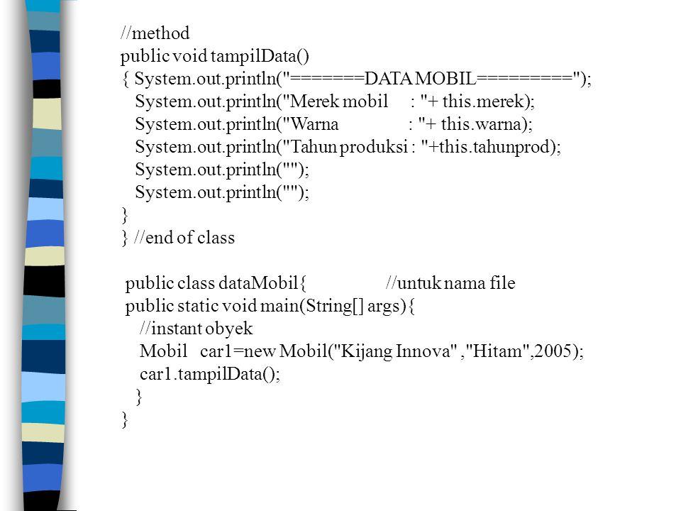 //method public void tampilData() { System.out.println(