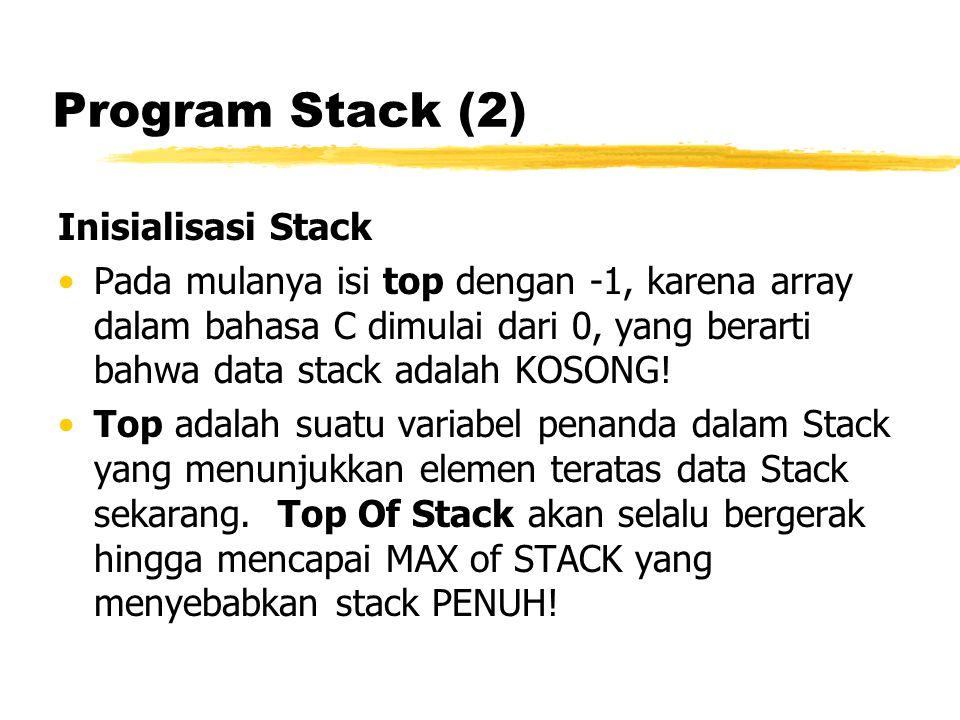 Program Stack (2) Inisialisasi Stack Pada mulanya isi top dengan -1, karena array dalam bahasa C dimulai dari 0, yang berarti bahwa data stack adalah KOSONG.