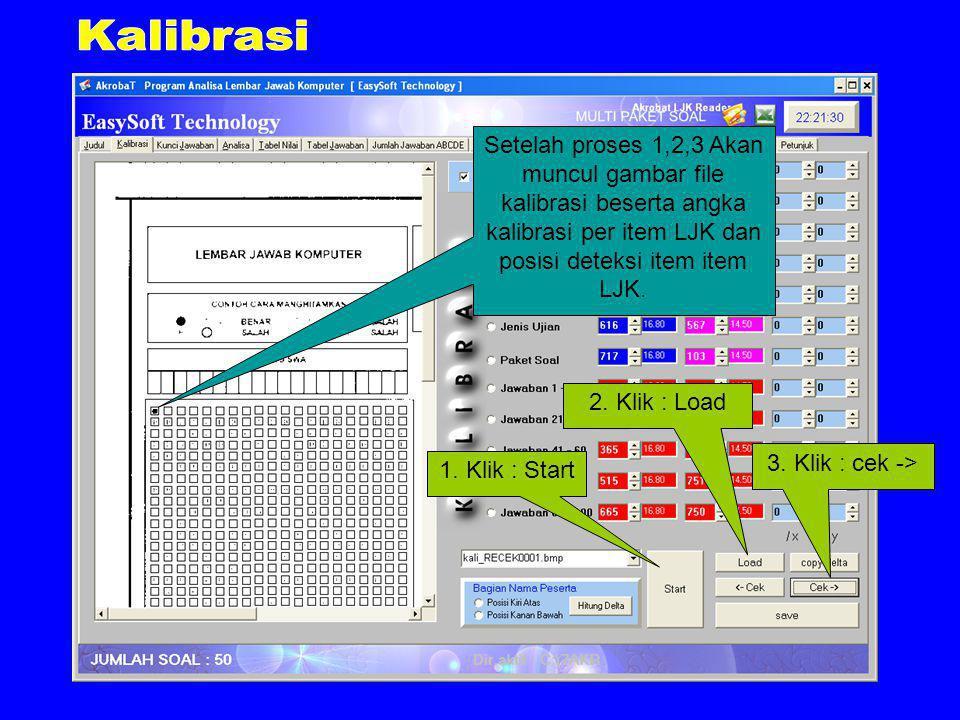 Setelah proses 1,2,3 Akan muncul gambar file kalibrasi beserta angka kalibrasi per item LJK dan posisi deteksi item item LJK.