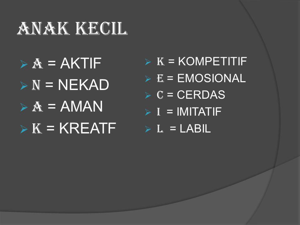 ANAK KECIL  A = AKTIF  N = NEKAD  A = AMAN  K = KREATF  K = KOMPETITIF  E = EMOSIONAL  C = CERDAS  I = IMITATIF  L = LABIL
