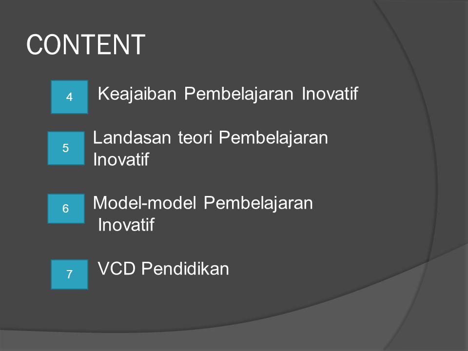 CONTENT Keajaiban Pembelajaran Inovatif Landasan teori Pembelajaran Inovatif Model-model Pembelajaran Inovatif VCD Pendidikan 4 5 6 7