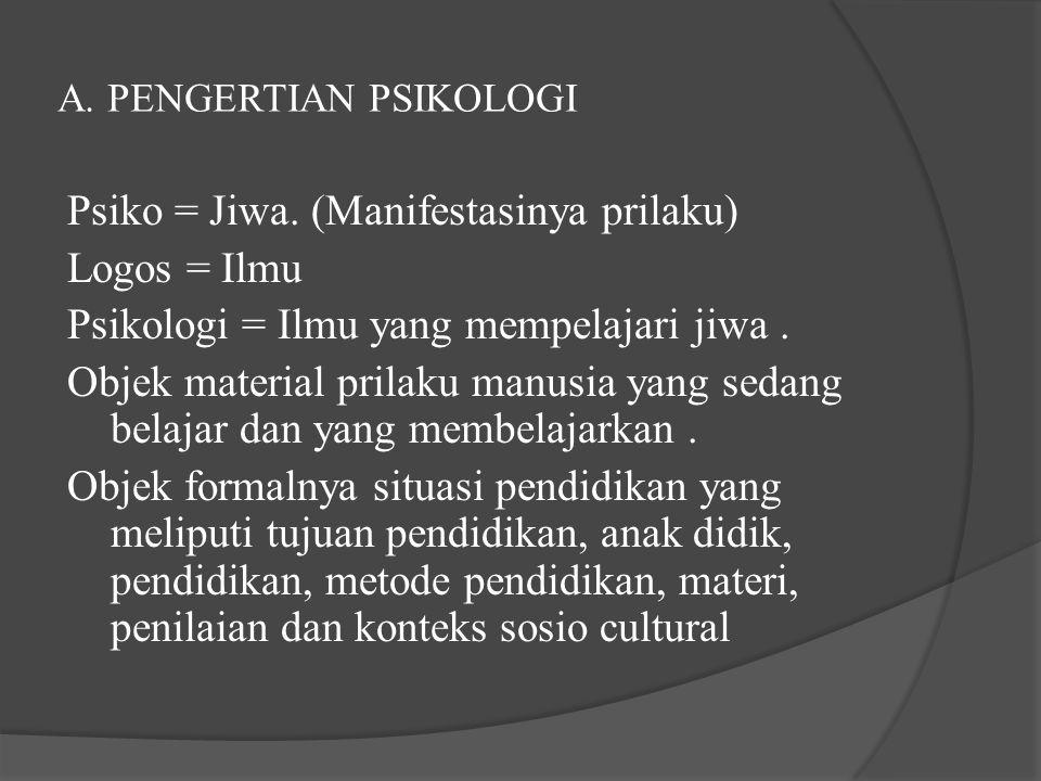 A. PENGERTIAN PSIKOLOGI Psiko = Jiwa. (Manifestasinya prilaku) Logos = Ilmu Psikologi = Ilmu yang mempelajari jiwa. Objek material prilaku manusia yan