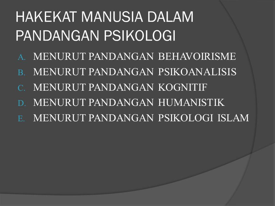 HAKEKAT MANUSIA DALAM PANDANGAN PSIKOLOGI A. MENURUT PANDANGAN BEHAVOIRISME B. MENURUT PANDANGAN PSIKOANALISIS C. MENURUT PANDANGAN KOGNITIF D. MENURU