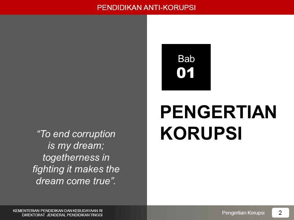 1.Mahasiswa mampu menjelaskan arti kata dan definisi korupsi secara tepat dan benar; 2.Mahasiswa mampu menjelaskan sejarah korupsi dan pemberantasan korupsi di Indonesia dengan benar; 3.Mahasiswa mampu menjelaskan bentuk-bentuk korupsi dan perilaku koruptif dengan benar; 4.Mahasiswa mampu membedakan bentuk tindak pidana korupsi dan perilaku koruptif; 5.Mahasiswa mampu menganalisis perbuatan korupsi dan perilaku koruptif di masyarakat; 6.Mahasiswa mampu mengevaluasi dan memahami berbagai bentuk tindak korupsi dan perilaku koruptif.