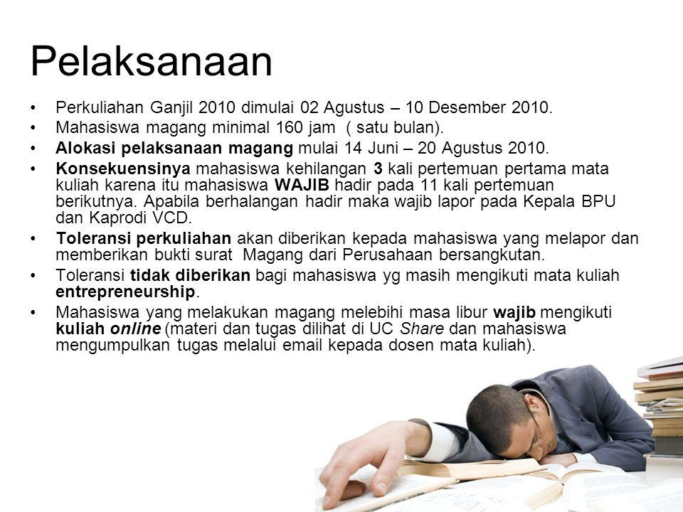 Pelaksanaan Perkuliahan Ganjil 2010 dimulai 02 Agustus – 10 Desember 2010.