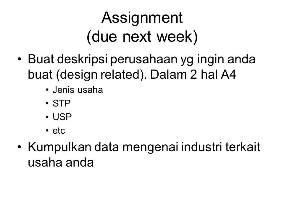 Assignment (due next week) Buat deskripsi perusahaan yg ingin anda buat (design related).