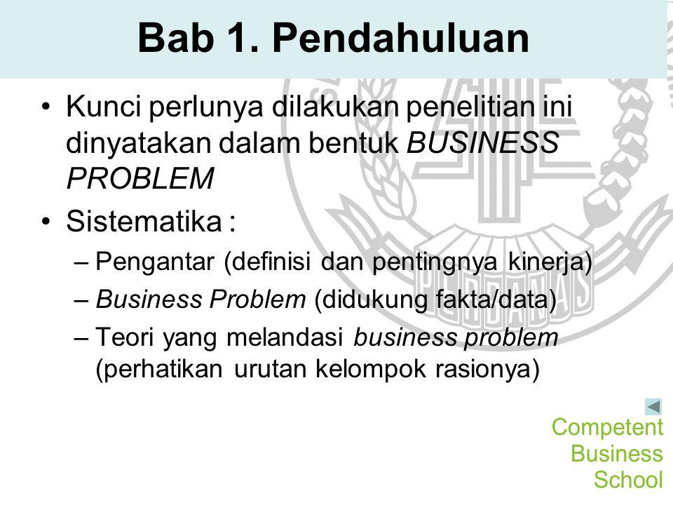 Bab 1. Pendahuluan Kunci perlunya dilakukan penelitian ini dinyatakan dalam bentuk BUSINESS PROBLEM Sistematika : –Pengantar (definisi dan pentingnya